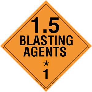 Explosives 1.5 Blasting Agents Placard