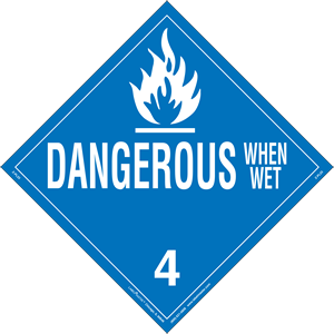 Dangerous When Wet Placard