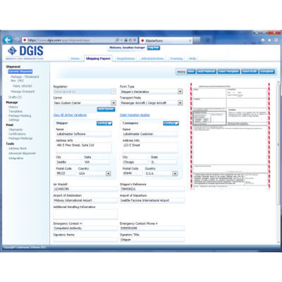 Hazardous Materials Shipping Software