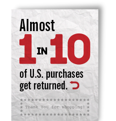 Almost 1 in 10 US purchases get returned - re. reverse logistics in play.