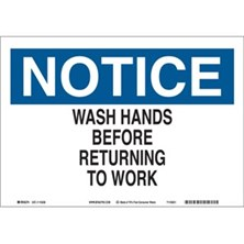 Notice, Wash Hands Before Returning To Work