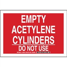Empty Acetylene Cylinders Do Not Use Signs