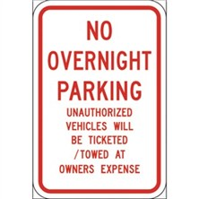 No Overnight Parking