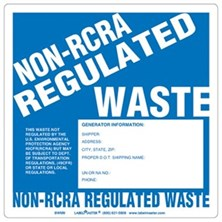 Non-RCRA Regulated Waste Labels With Generator Info, Unruled