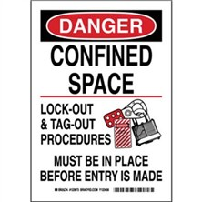 Danger - Confined Space Lock-Out And Tag-Out Procedures Must Be In Place Before Entry Is Made Signs