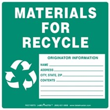 Materials for Recycle Labels With Originator Info, Ruled