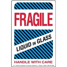 Fragile Liquid in Glass Labels