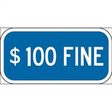 $100 Fine (White on Blue)