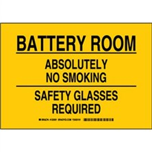 Battery Room Absolutely No Smoking Safety Glasses Required Signs