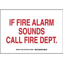 If Fire Alarm Sounds Call Fire Dept. Signs