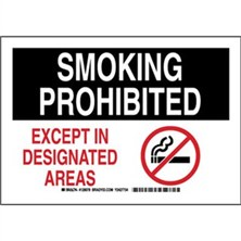 Smoking Prohibited Except In Designated Areas Signs