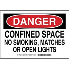 Danger - Confined Space No Smoking, Matches Or Open Lights Signs