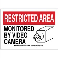 Restricted Area - Monitored By Video Camera Signs