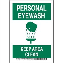 Personal Eyewash Keep Area Clean Signs