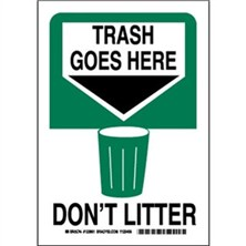 Trash Goes Here Don't Litter Signs