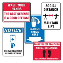 Social Distancing & Hand Sanitizing Safety Signs
