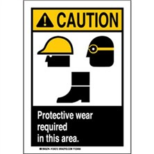 Caution - Protective Wear Required In This Area Signs