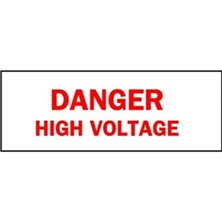 Danger High Voltage (Red on White)