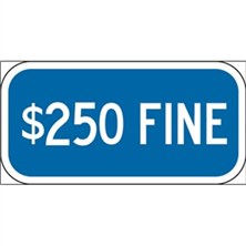 $250 Fine (White on Blue)