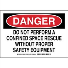 Danger - Do Not Perform A Confined Space Rescue Without Proper Safety Equipment Signs