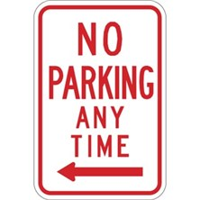 No Parking Anytime With Left Arrow