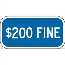 $200 Fine (White on Blue)