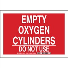 Empty Oxygen Cylinders Do Not Use Signs