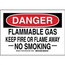 Danger - Flammable Gas Keep Fire Or Flame Away No Smoking Signs