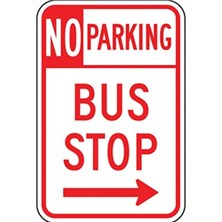 No Parking Bus Stop (With Right Arrow)