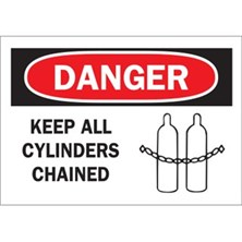 Keep Cylinders Chained (With  Picto) Signs