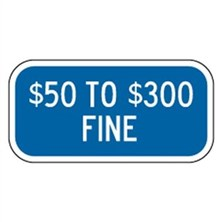 $50 To $300 Fine (White on Blue)