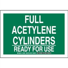 Full Acetylene Cylinders Ready For Use Signs