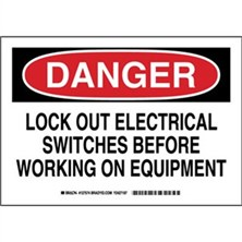 Danger - Lock Out Electrical Switches Before Working On Equipment