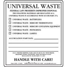 Universal Waste Category Labels