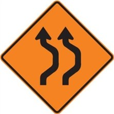 2 Lane Left Double Reverse Curve to Right Symbol