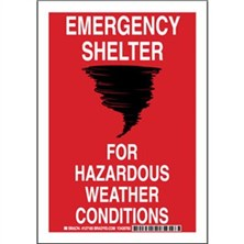 Emergency Shelter For Hazardous Weather Conditions Signs