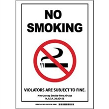 No Smoking Violators Are Subject To Fine. New Jersey Smoke-Free Air Act N.J.S.A 26:3D-55 Signs
