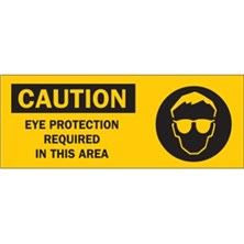 Caution, Eye Protection Required In This Area (With Picto)