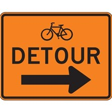 Bicycle Detour With Right Arrow