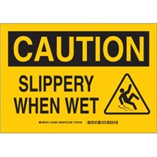 Caution - Slippery When Wet (With Picto) Signs