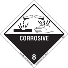 Worded Corrosive Labels