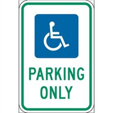 Handicap Parking Only (Green on White)