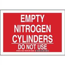 Empty Nitrogen Cylinders Do Not Use Signs