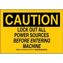 Caution - Lock Out All Power Sources Before Entering Machine