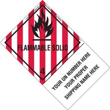 Personalized Shipping Name Flammable Solid Labels