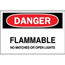 Danger, Flammable No Matches Or Open Lights