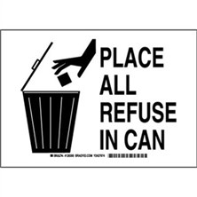Place All Refuse In Can Signs
