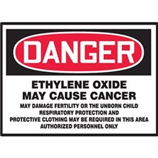 Danger Ethylene Oxide, May Cause Cancer Signs