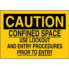 Caution - Confined Space Use Lockout And Entry Procedures Prior To Entry Signs