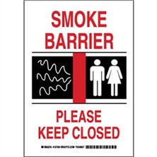 Smoke Barrier Please Keep Closed Signs